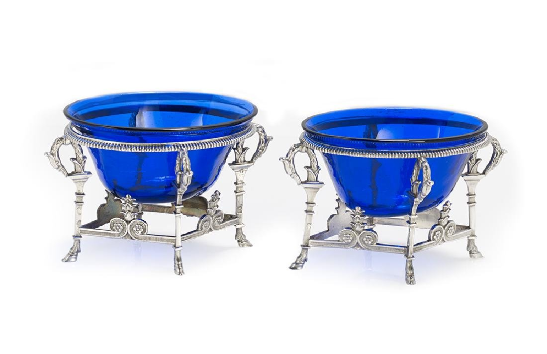 Pair of French First Empire Silver and Glass Salt
