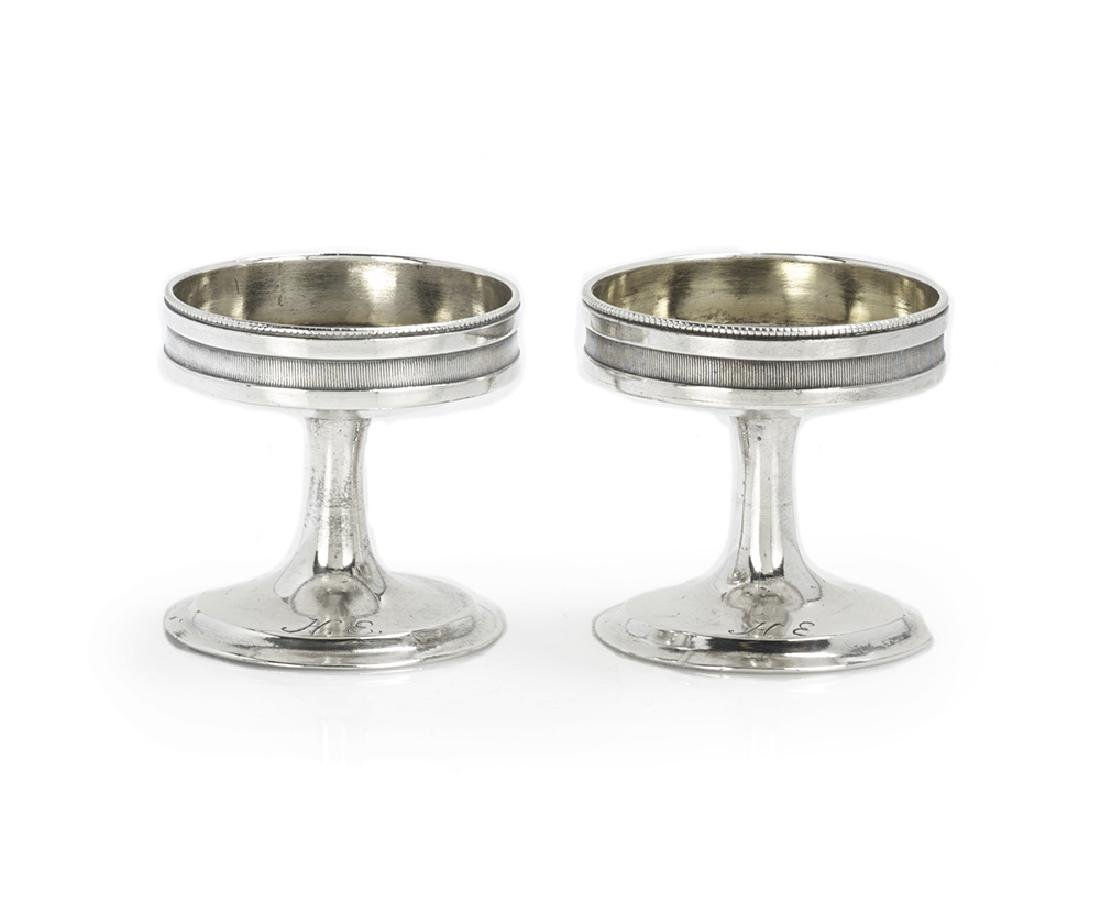 Pair of German Biedermeier Silver Pedestal Salt Cellars