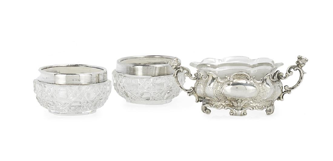 Three Continental Silver and Glass Salt Cellars