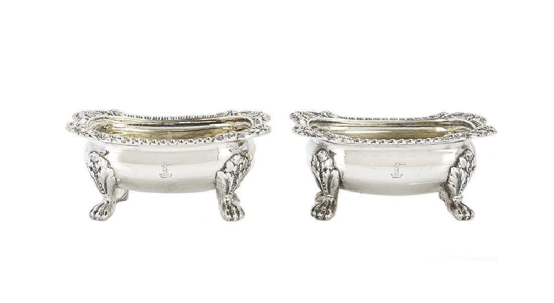 Pair of Late Georgian Sterling Silver Salt Cellars