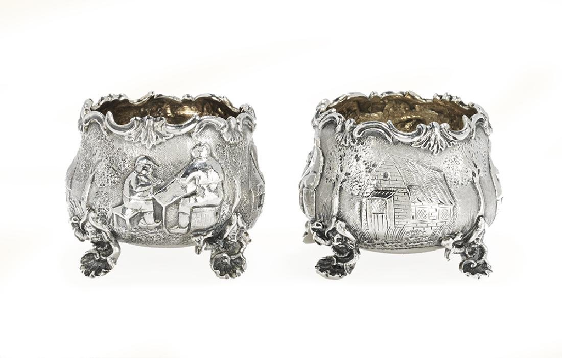 Pair of Victorian Sterling Silver Chinoiserie Salt
