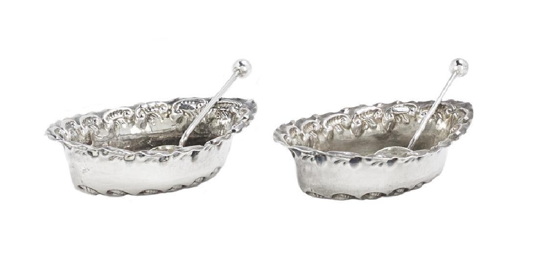 Pair of Cased Edwardian Sterling Silver Salt Cellars