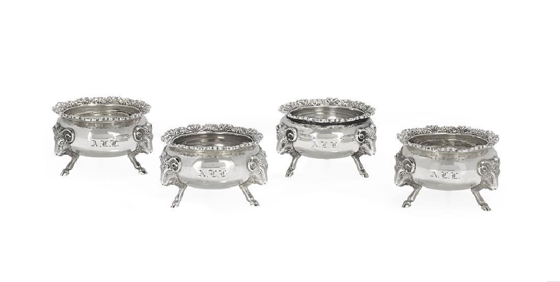 Suite of Four Gorham Coin Silver Salt Cellars