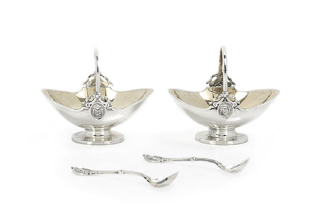 "Pair of Gorham ""Medallion"" Sterling Silver Salt Cellars"