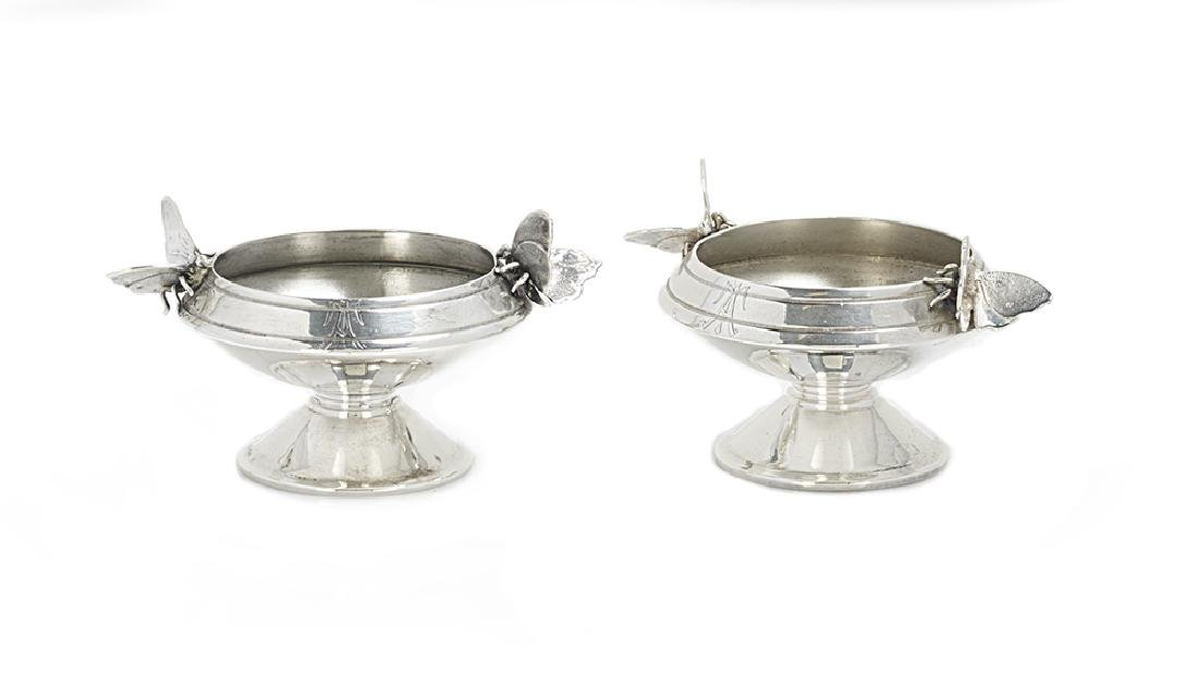 "Pair of Gorham Sterling Silver ""Aesthetic"" Salt Cellars"