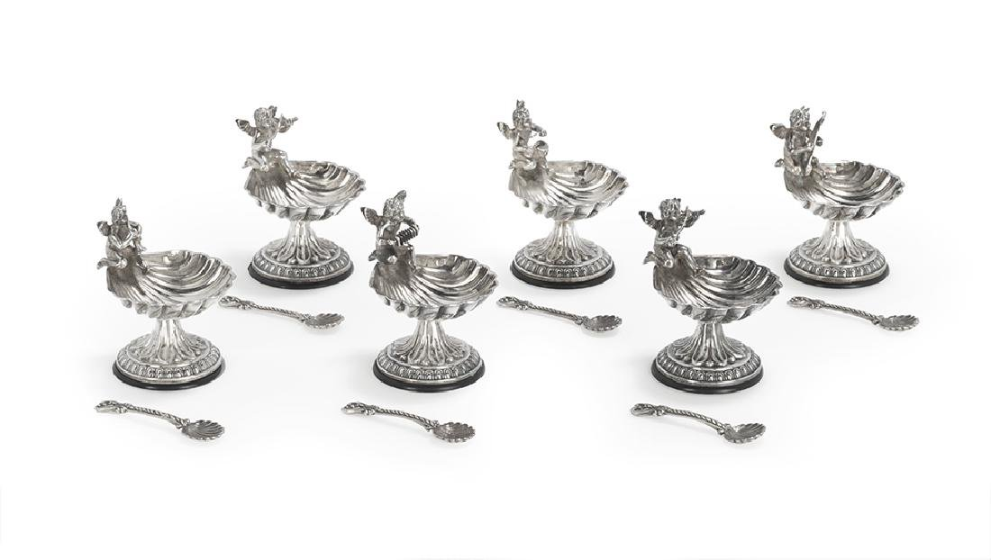 Set of Six Sterling Silver Salt Cellars and Spoons