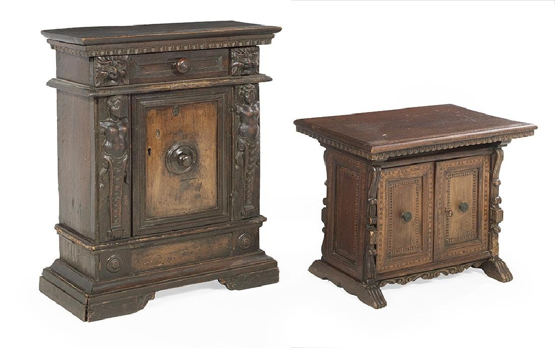 Two Italian Baroque Carved Walnut Cabinets