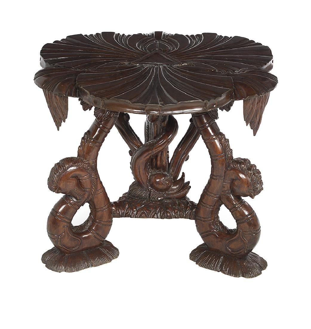 Grotto-Style Mahogany Center Table - 2