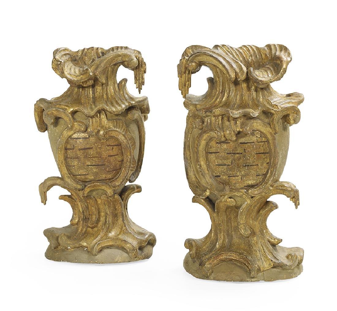 Pair of Baroque Giltwood Garnitures