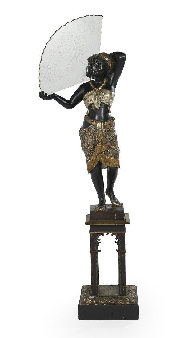 Venetian Carved Blackamoor with a Mirrored Fan