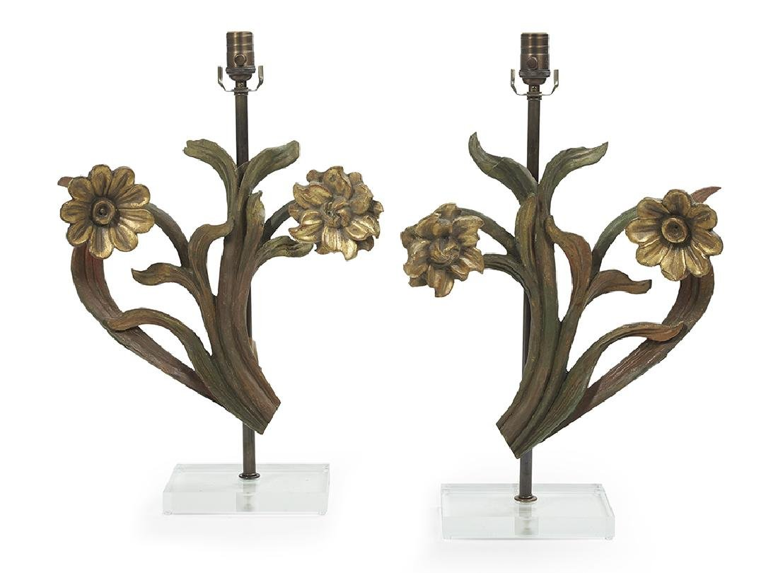 Pair of Italian Parcel-Gilt Floral Carvings