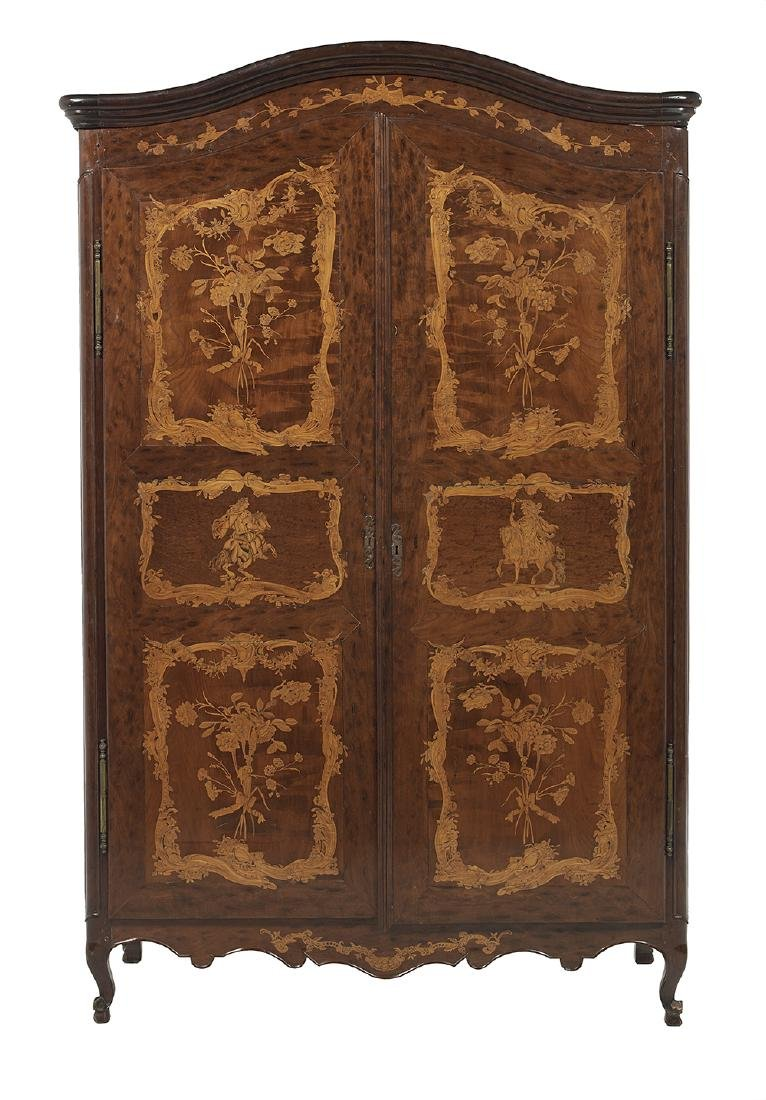 Continental Mahogany and Fruitwood Armoire