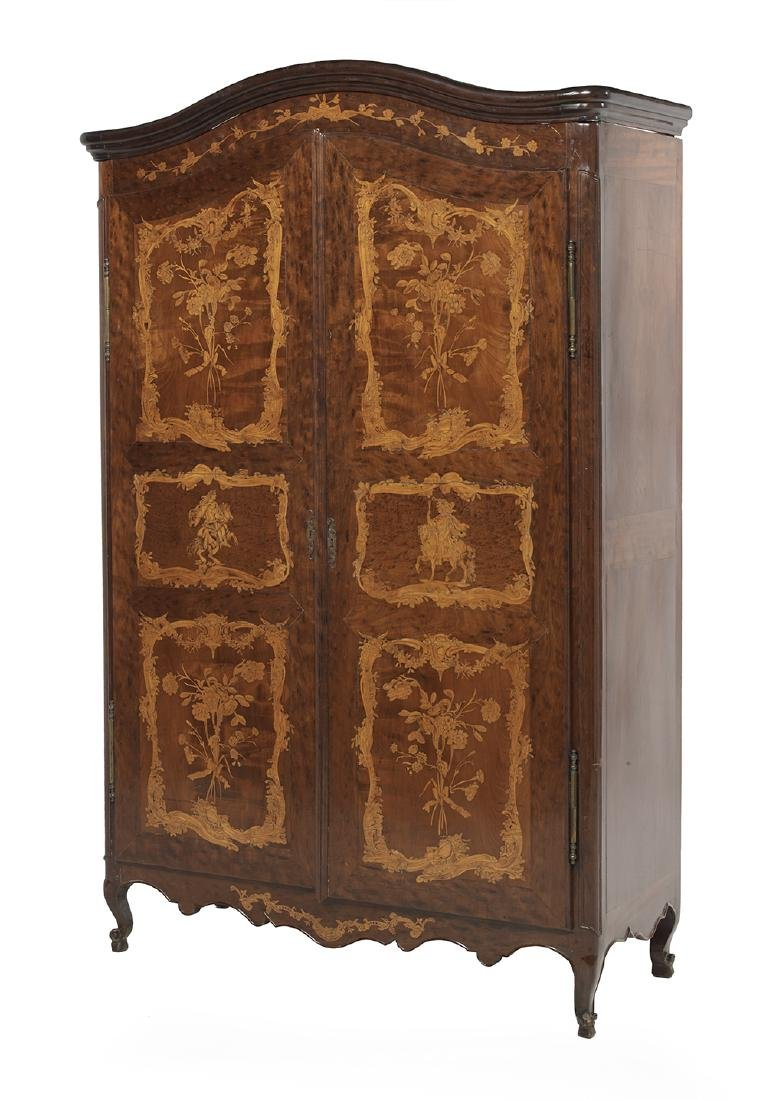 Continental Mahogany and Fruitwood Armoire - 2