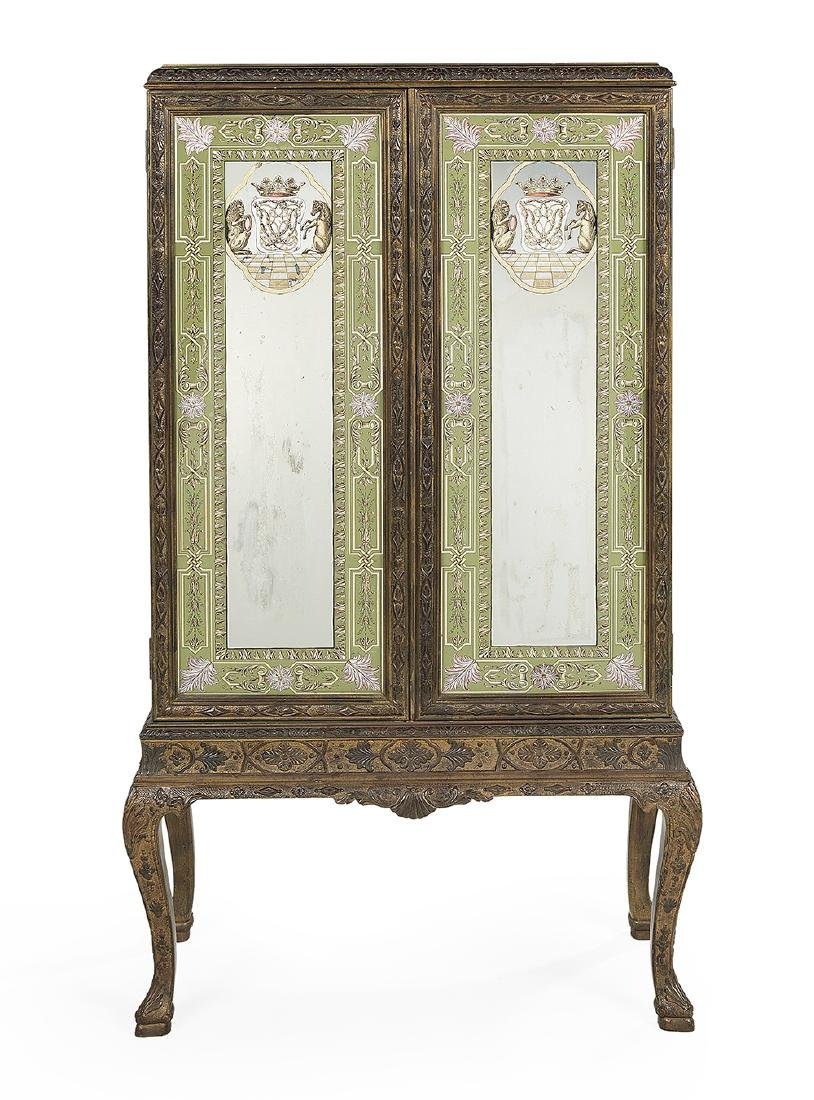 Continental Giltwood and Polychrome Cabinet