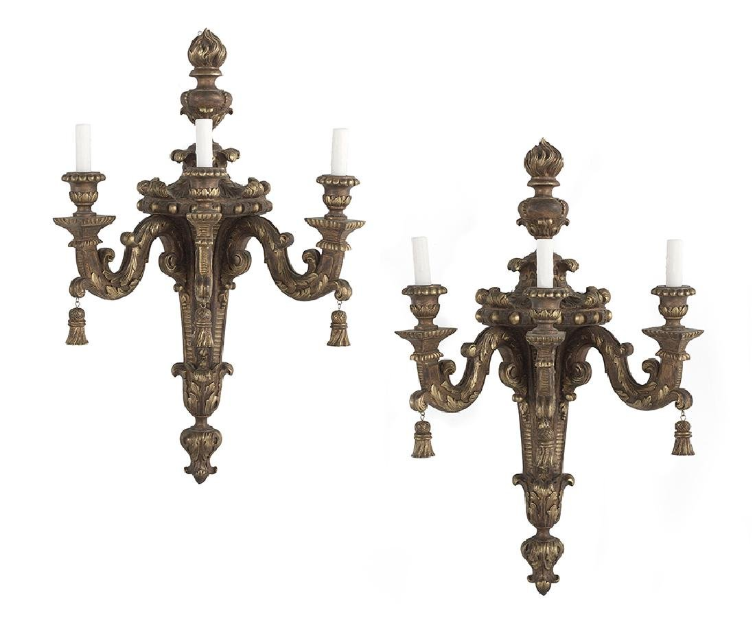 Pair of Giltwood Sconces in the Louis XIV Style
