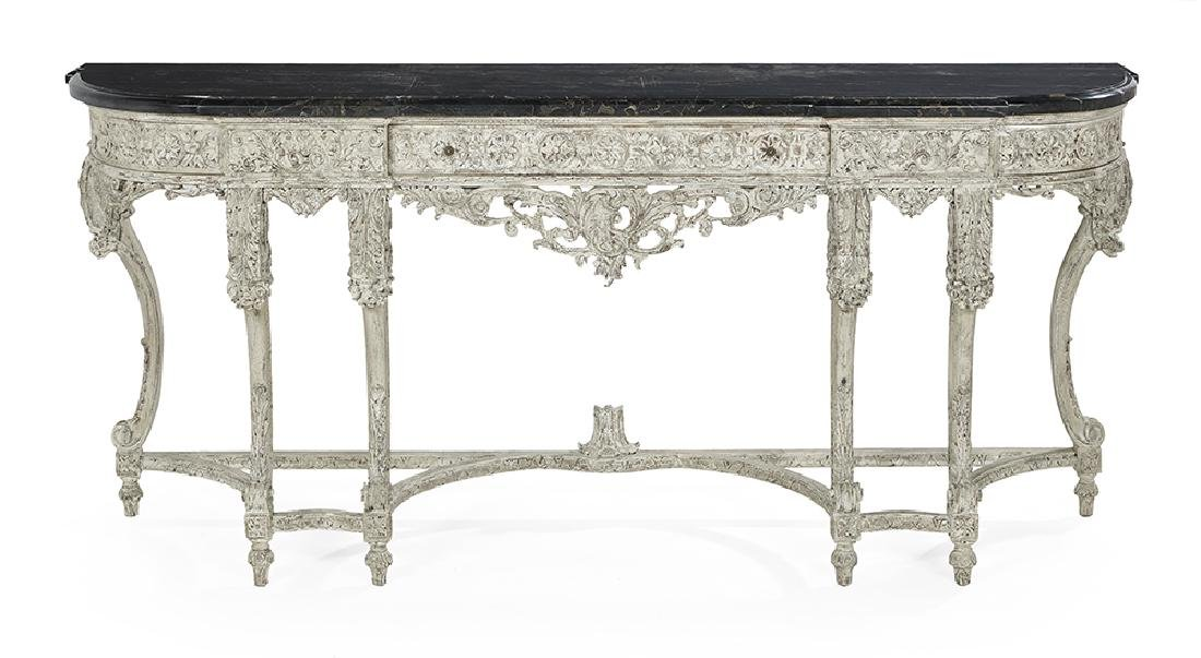 Louis XVI-Style Marble-Top Side Table