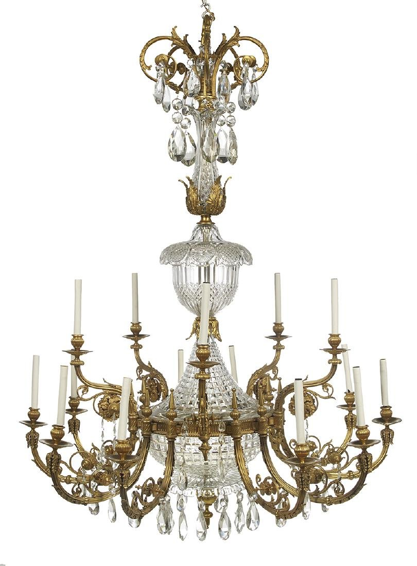 Gilt-Bronze and Crystal Chandelier