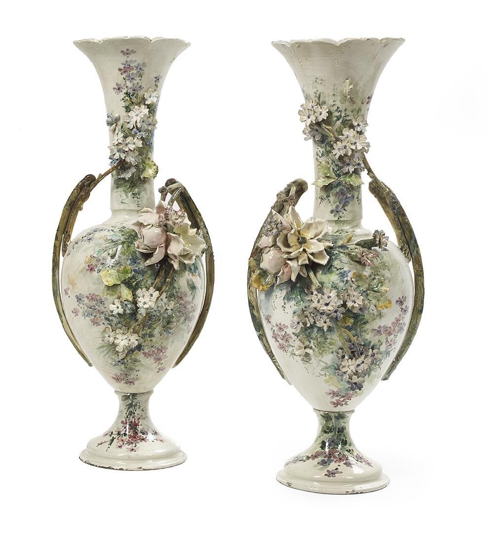 Monumental Pair of French Barbotine Vases