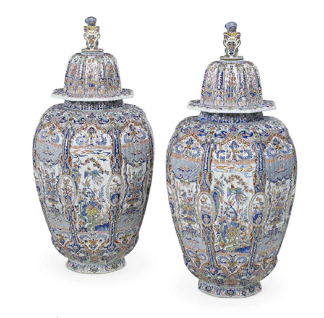 Pair of Tiffany-Retailed Faience Palace Urns