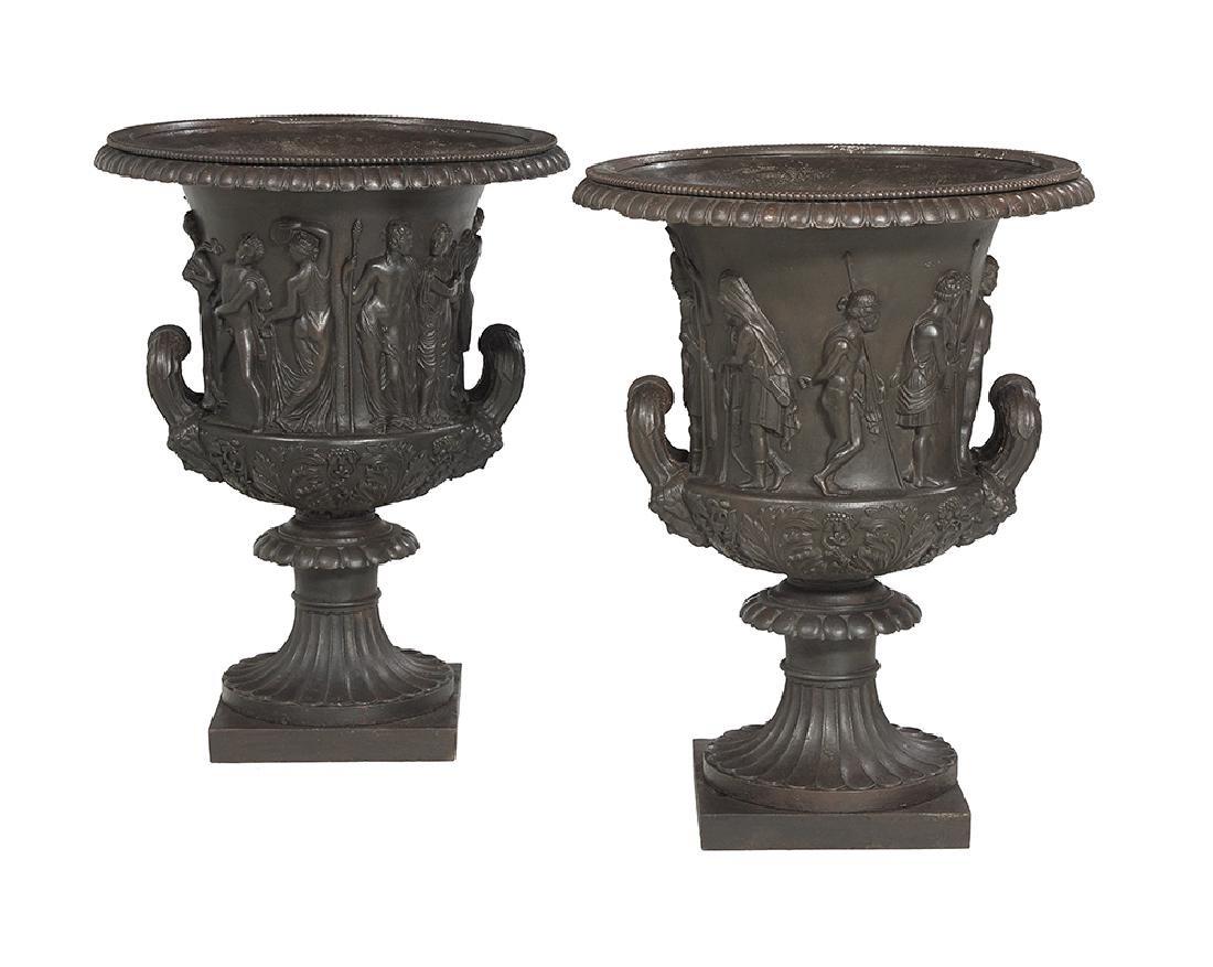 Pair of Cast Iron Campana-Form Garden Urns