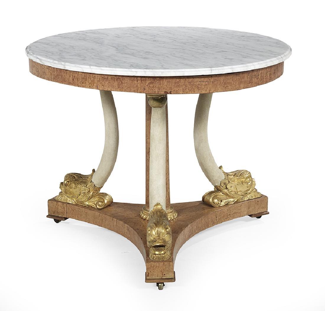 Biedermeier Elm and Marble-Top Center Table