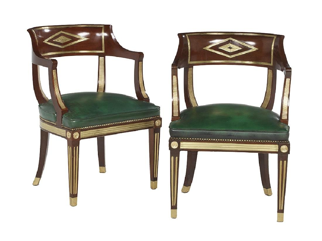 Pair of Baltic Neoclassical Mahogany Tub Chairs
