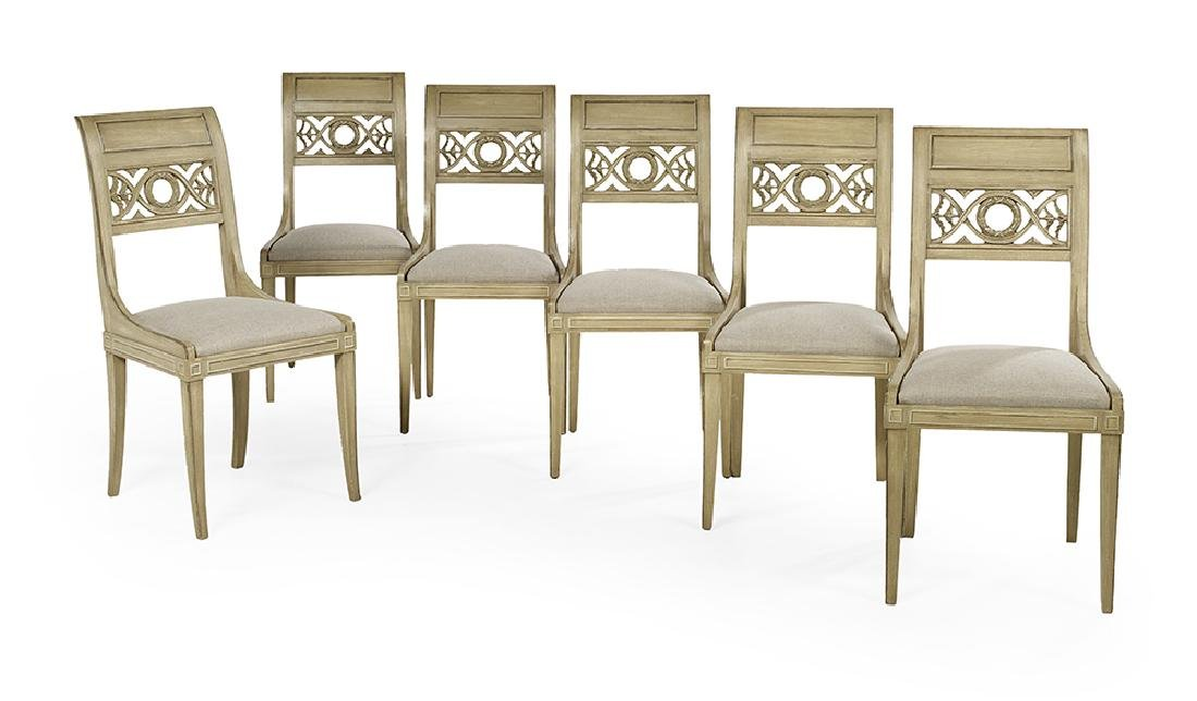 Six Directoire-Style Polychrome Side Chairs