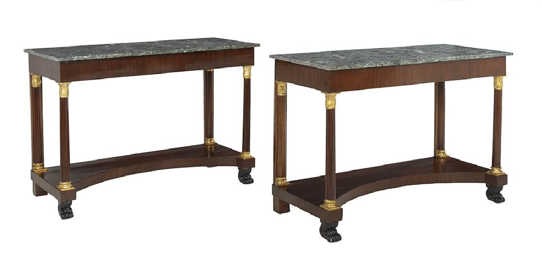 Pair of Empire-Style Marble-Top Side Tables