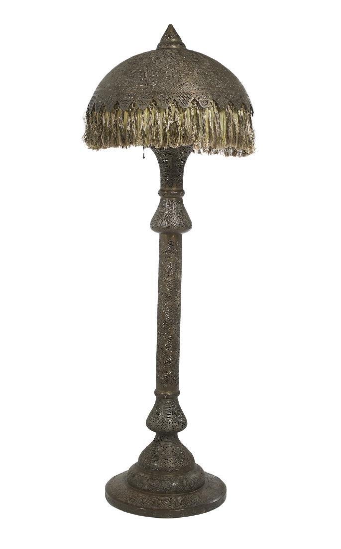 Middle Eastern Pierced Brass Floor Lamp