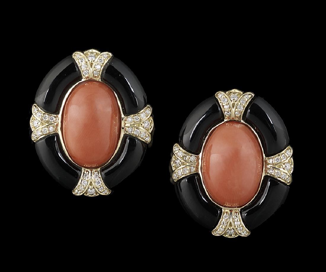 Coral and Diamond Ear Clips