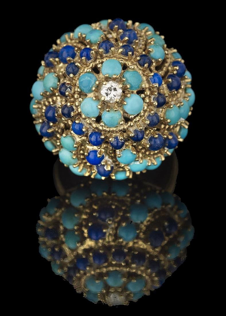Turquoise, Lapis Lazuli and Diamond Ring