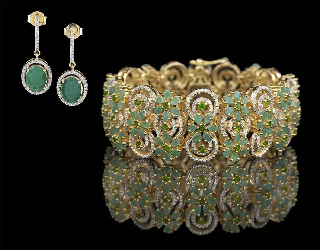 Emerald and Diamond Bracelet and Earrings