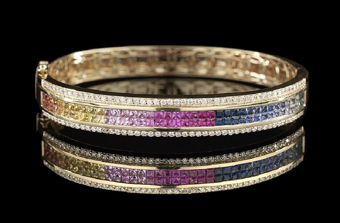 Multicolored Sapphire and Diamond Bangle Bracelet