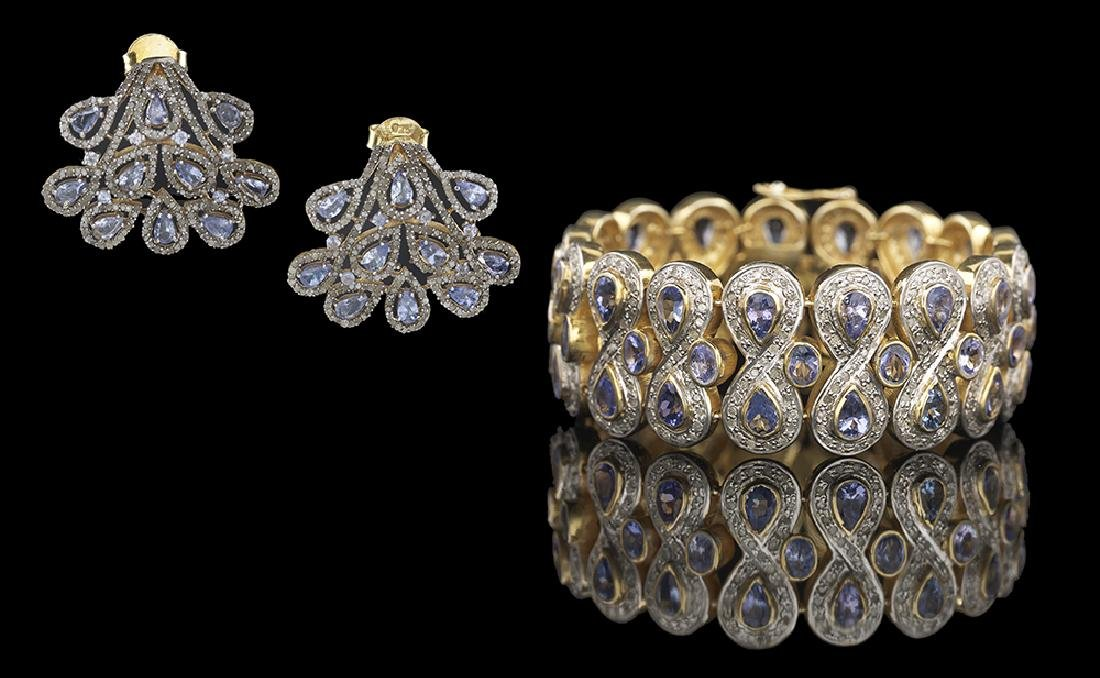 Tanzanite and Diamond Bracelet and Earrings