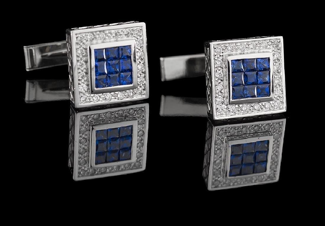 Diamond and Sapphire Cufflinks