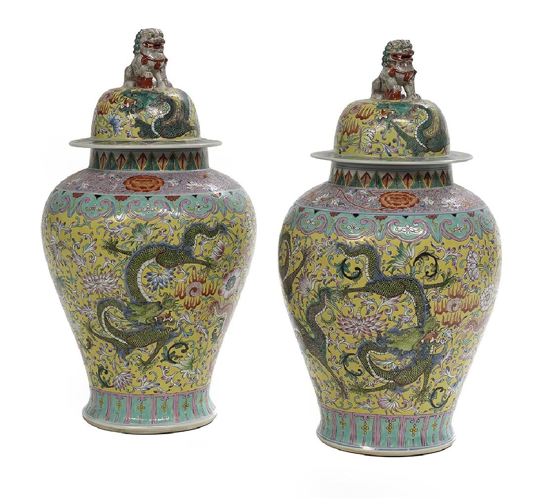 Pair of Chinese Famille Jaune Jars and Covers