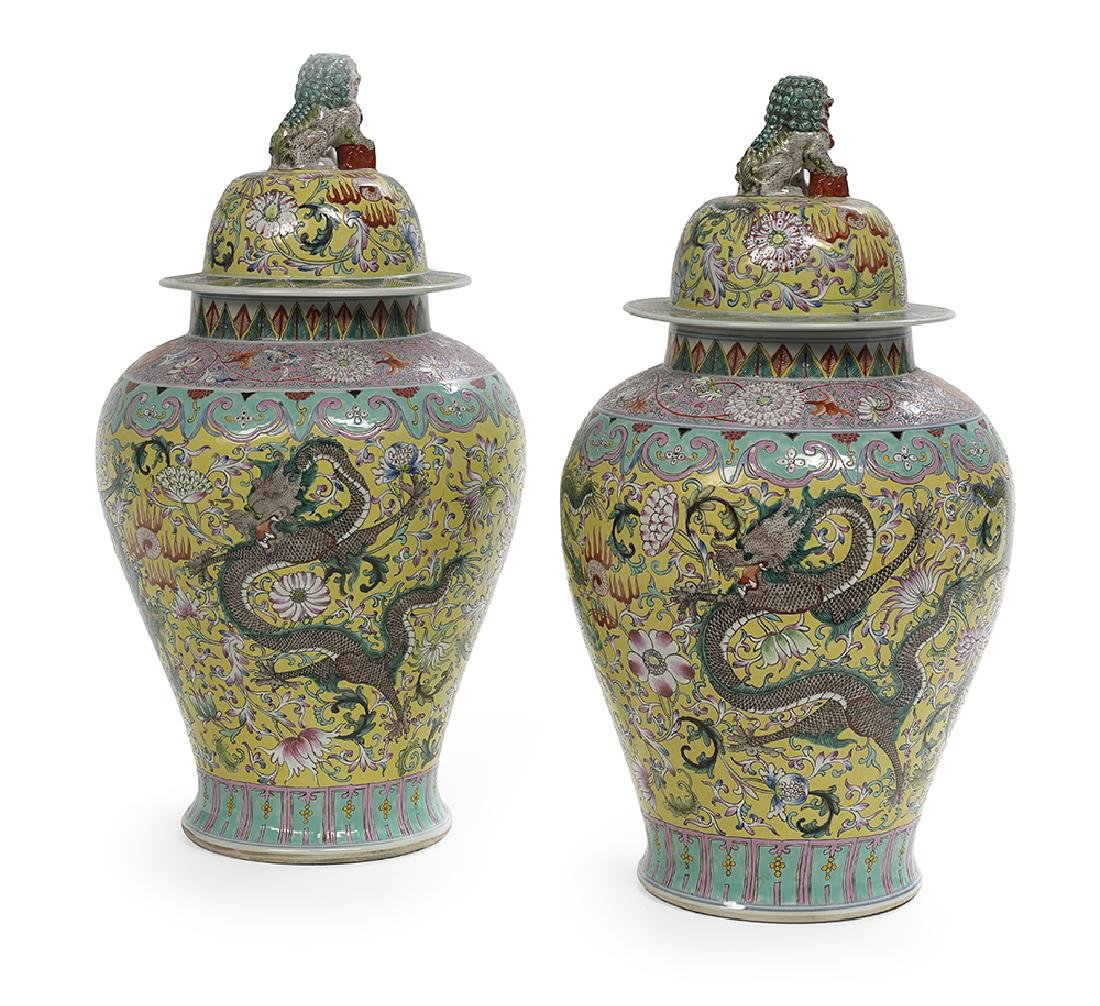 Pair of Chinese Famille Jaune Jars and Covers - 2