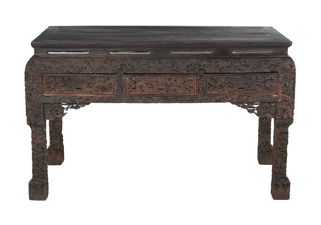 Chinese Hardwood Table with Mirrored Inserts