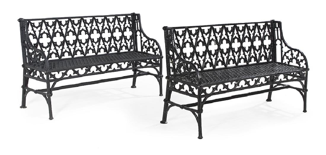 Pair of Gothic Revival-Style Garden Benches