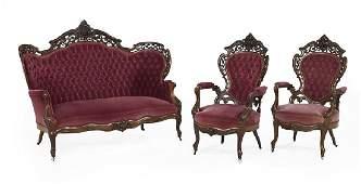 Seven-Piece American Rococo Revival Parlor Suite