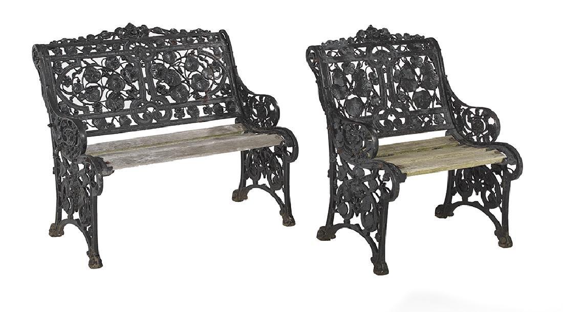 Two Art Nouveau-Style Cast Iron Garden Seats