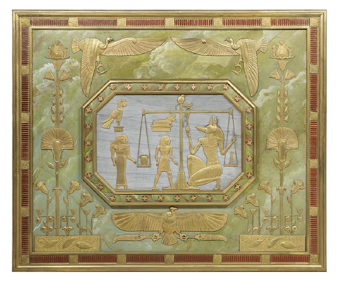 Monumental Egyptian Revival Architectural Plaque