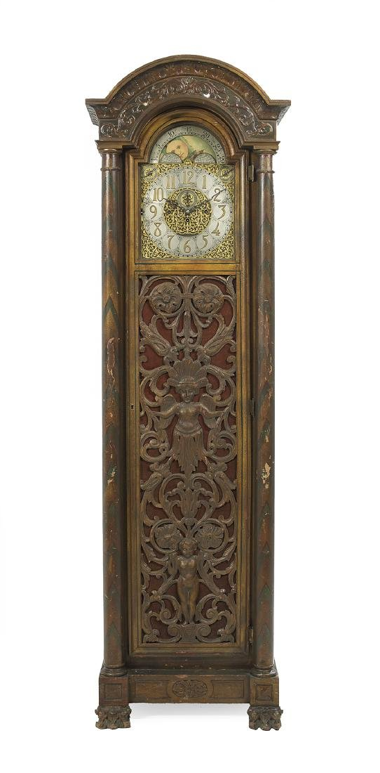 American Polychromed Tall Case Clock
