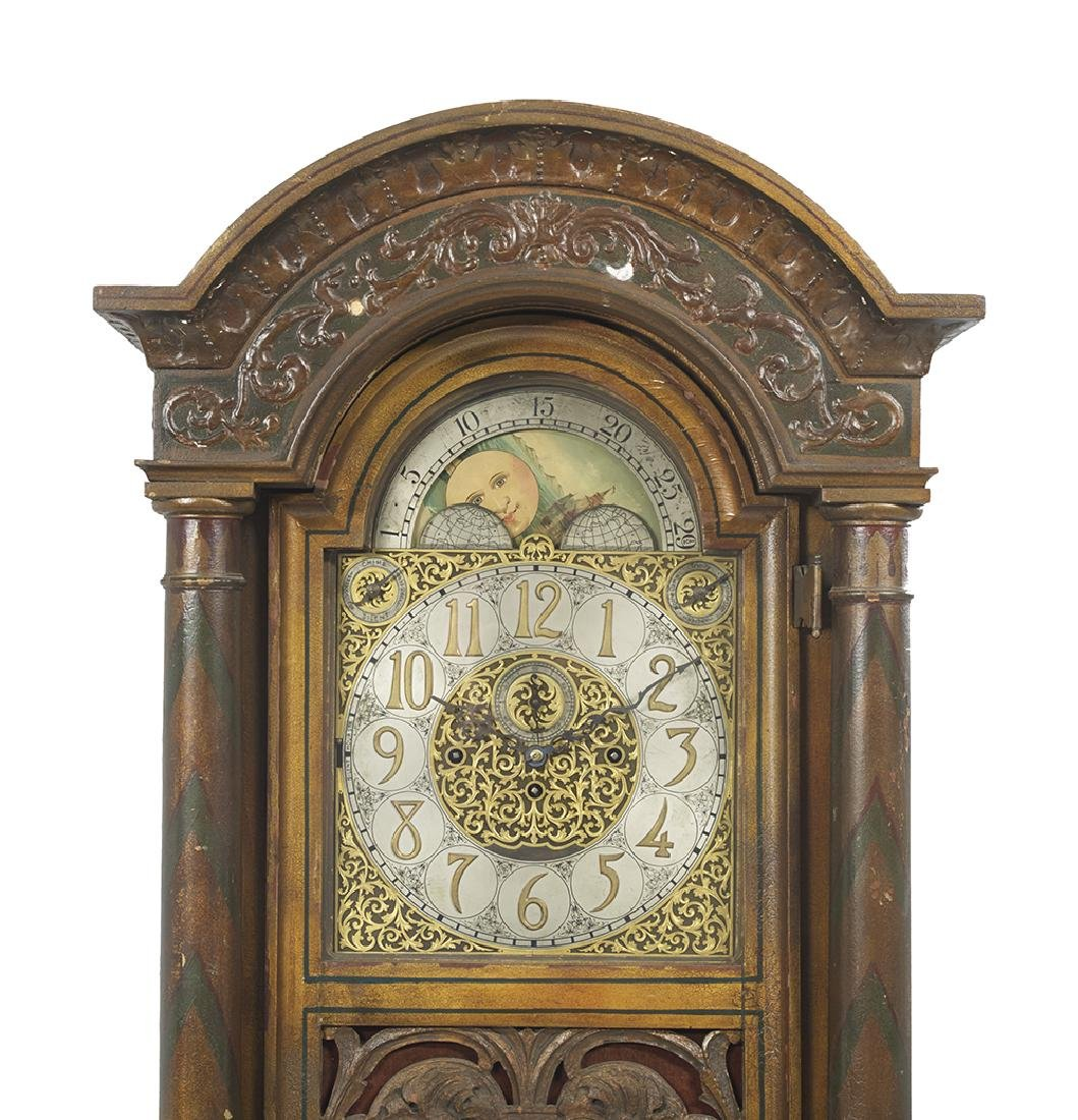 American Polychromed Tall Case Clock - 3