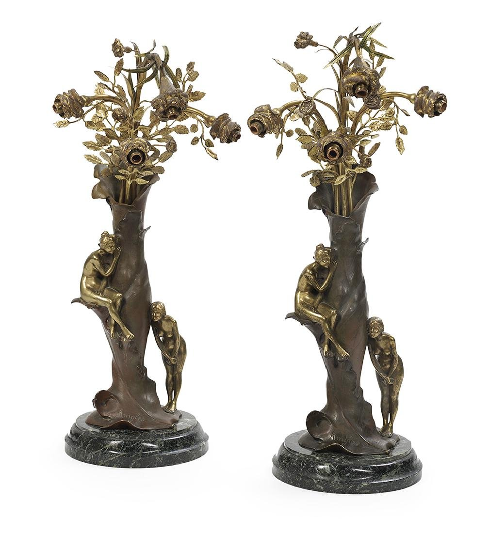 Pair of Art Nouveau Bronze and Marble Lamps