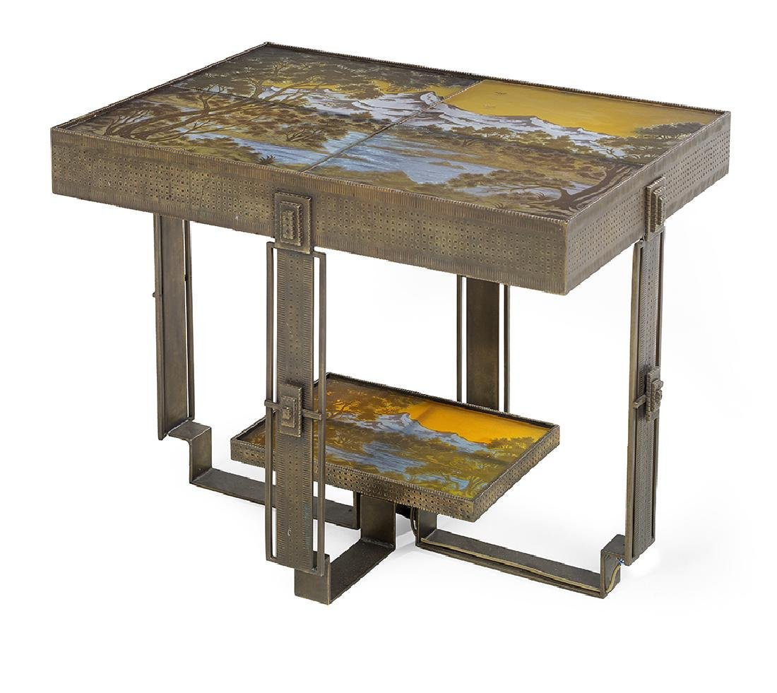 French Art Deco-Style Cameo Glass Side Table