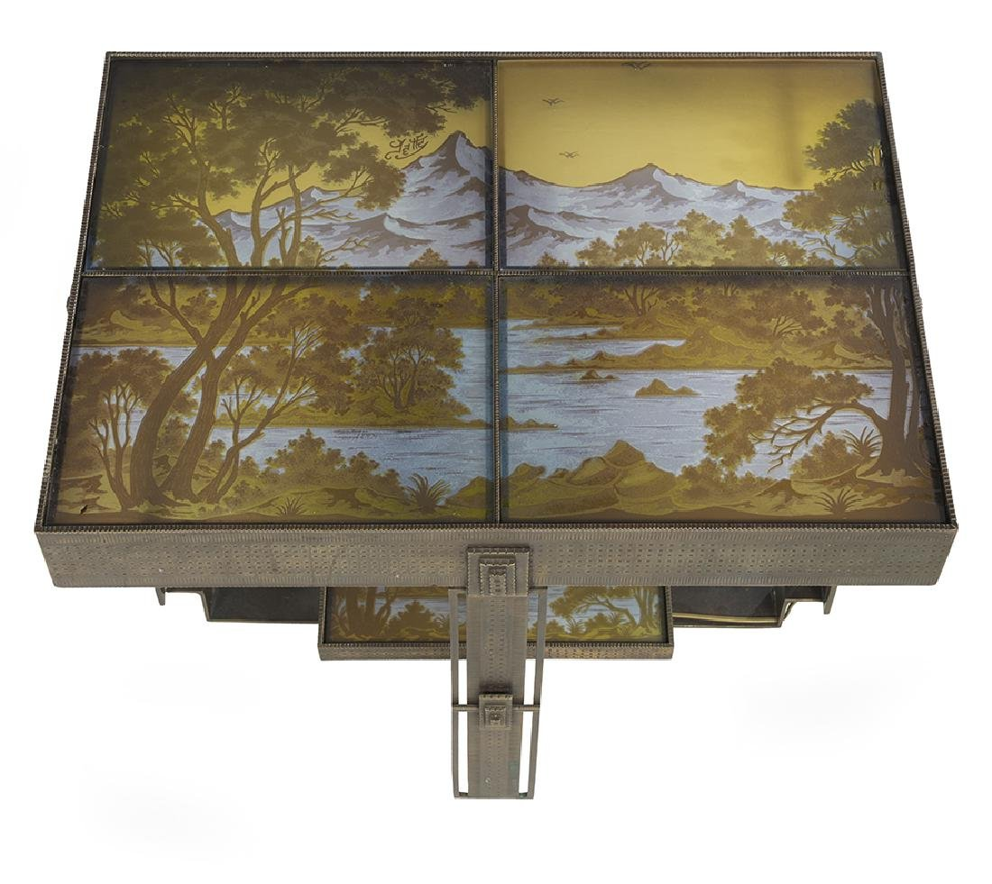 French Art Deco-Style Cameo Glass Side Table - 3
