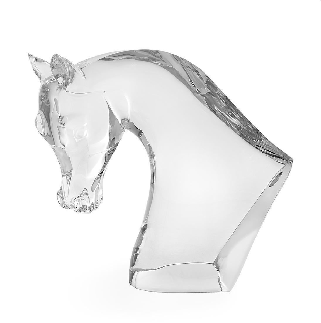 Large Marc Lalique Crystal Horse's Head Sculpture