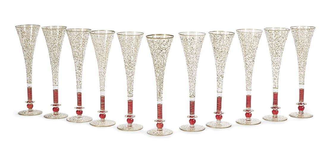 Set of Eleven Venetian-Style Champagne Flutes