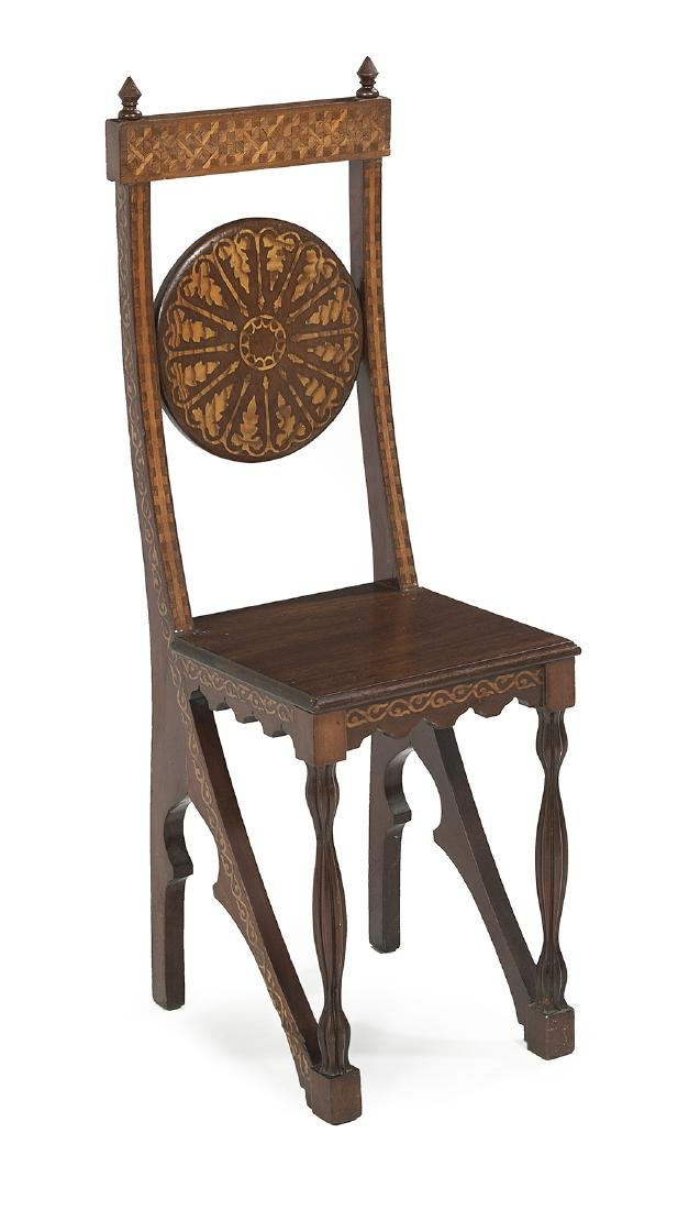 Art Nouveau Marquetry-Inlaid Mahogany Side Chair